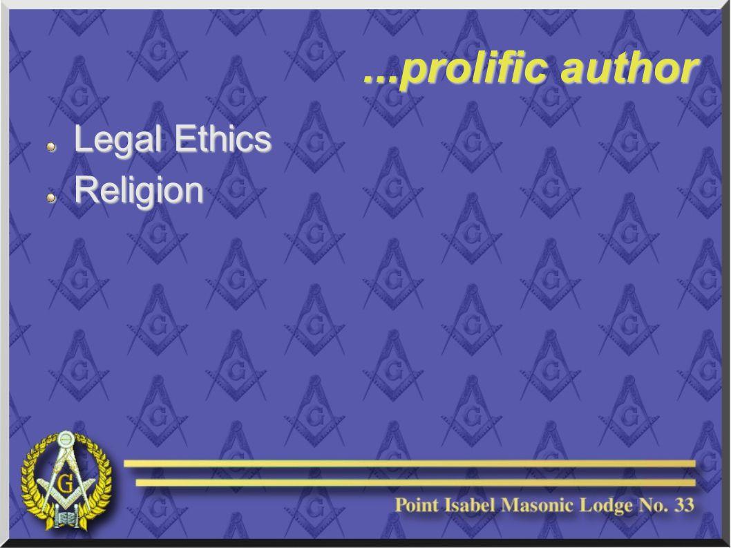 ...prolific author Legal Ethics Religion