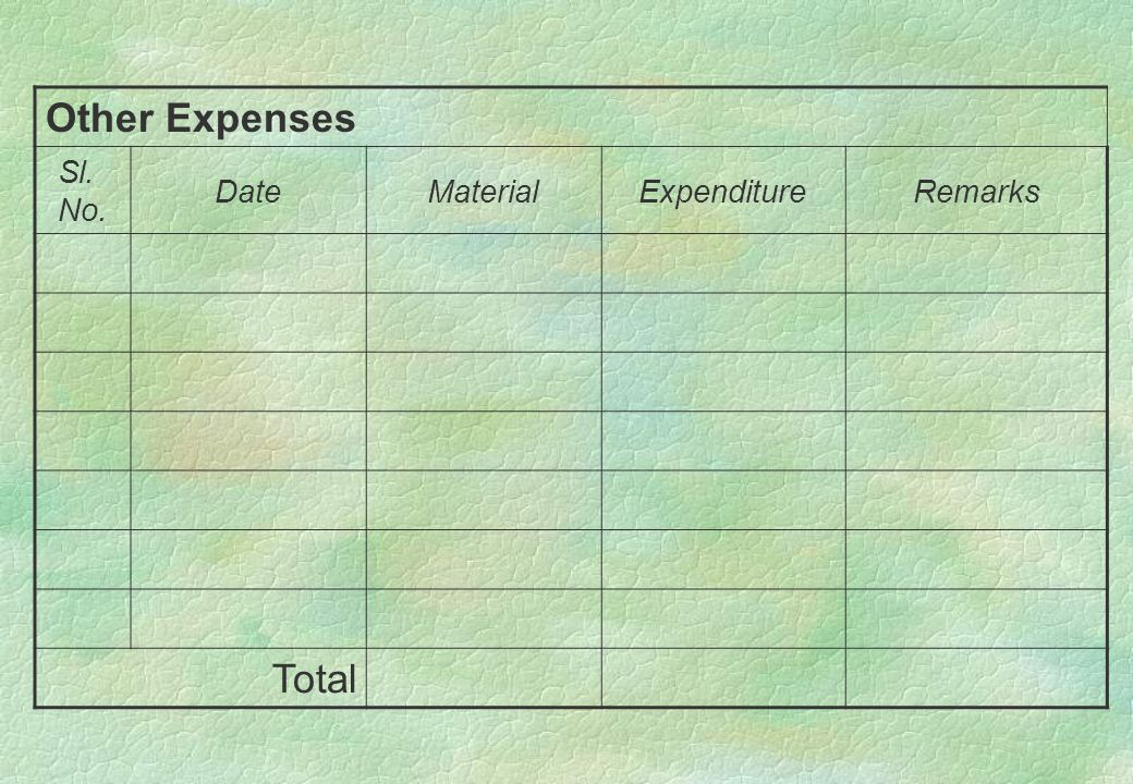Other Expenses Sl. No. DateMaterialExpenditureRemarks Total