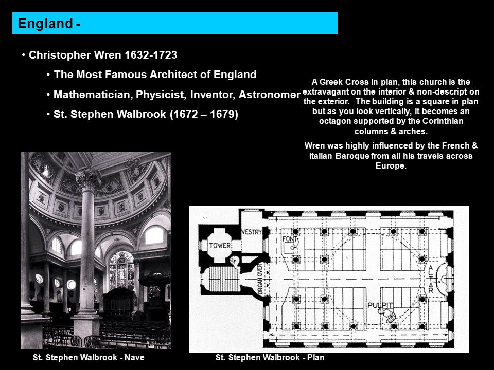 England - Christopher Wren 1632-1723 The Most Famous Architect of England Mathematician, Physicist, Inventor, Astronomer St.