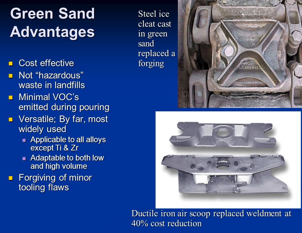 "Green Sand Advantages Cost effective Cost effective Not ""hazardous"" waste in landfills Not ""hazardous"" waste in landfills Minimal VOC's emitted during"