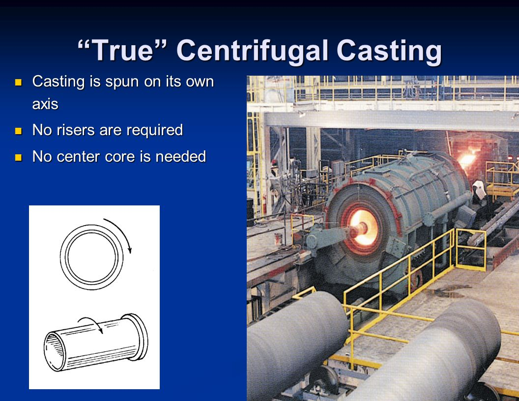 """True"" Centrifugal Casting Casting is spun on its own axis Casting is spun on its own axis No risers are required No risers are required No center cor"