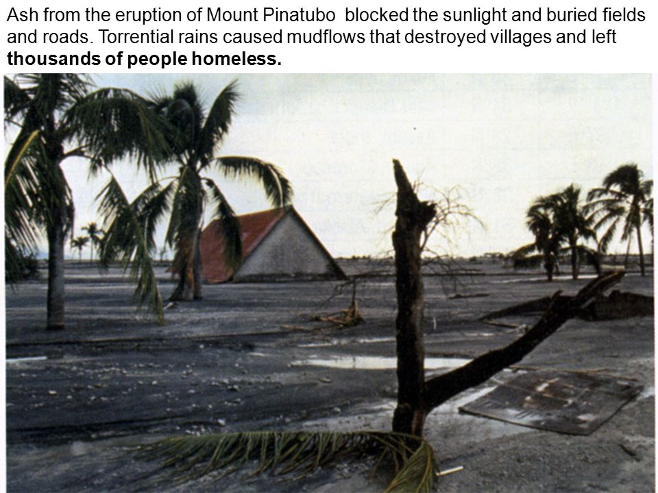 Ash from the eruption of Mount Pinatubo blocked the sunlight and buried fields and roads.
