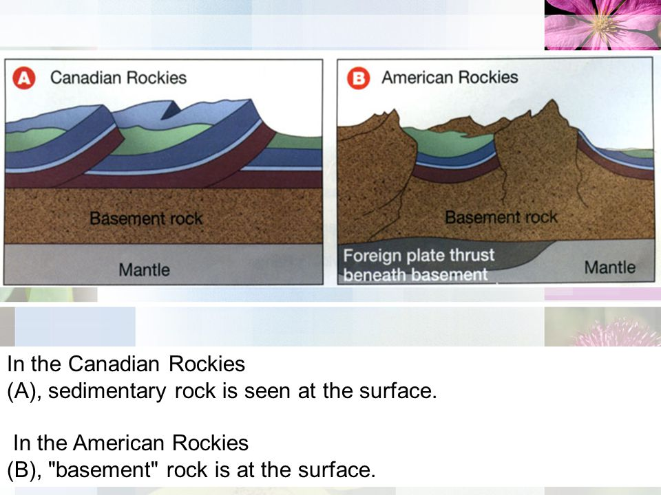 In the Canadian Rockies (A), sedimentary rock is seen at the surface.