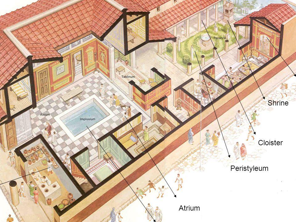 Atrium Impluvium Peristyleum Mural Shrine Shop Cloister