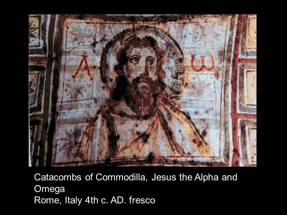 Catacombs of Commodilla, Jesus the Alpha and Omega Rome, Italy 4th c. AD. fresco