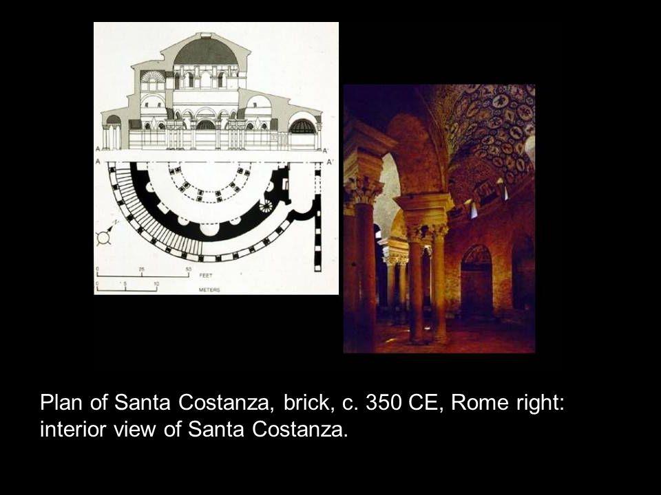 Plan of Santa Costanza, brick, c. 350 CE, Rome right: interior view of Santa Costanza.