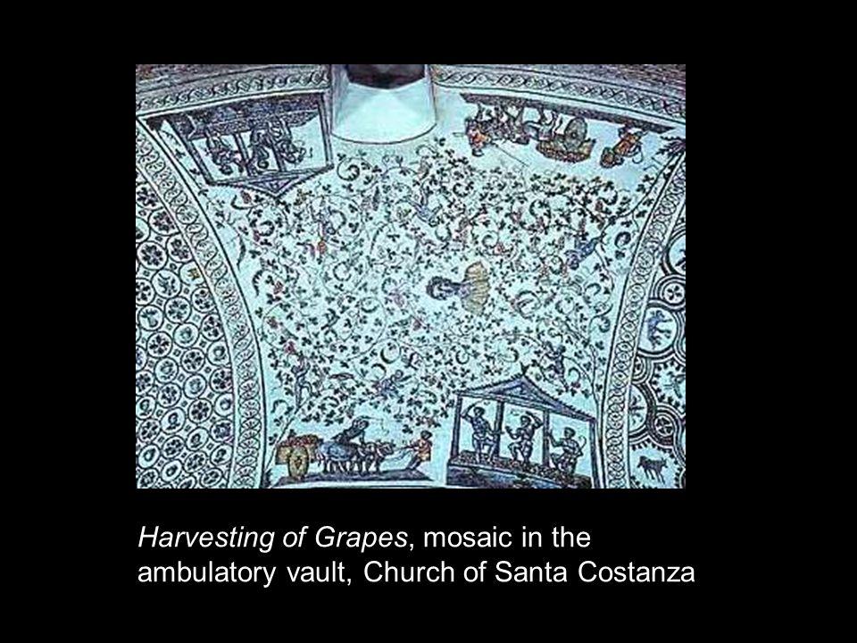 Harvesting of Grapes, mosaic in the ambulatory vault, Church of Santa Costanza