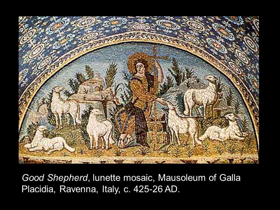 Good Shepherd, lunette mosaic, Mausoleum of Galla Placidia, Ravenna, Italy, c. 425-26 AD.