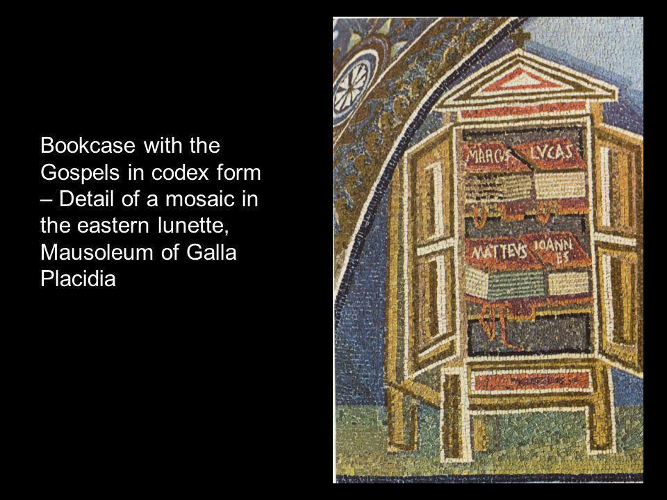 Bookcase with the Gospels in codex form – Detail of a mosaic in the eastern lunette, Mausoleum of Galla Placidia