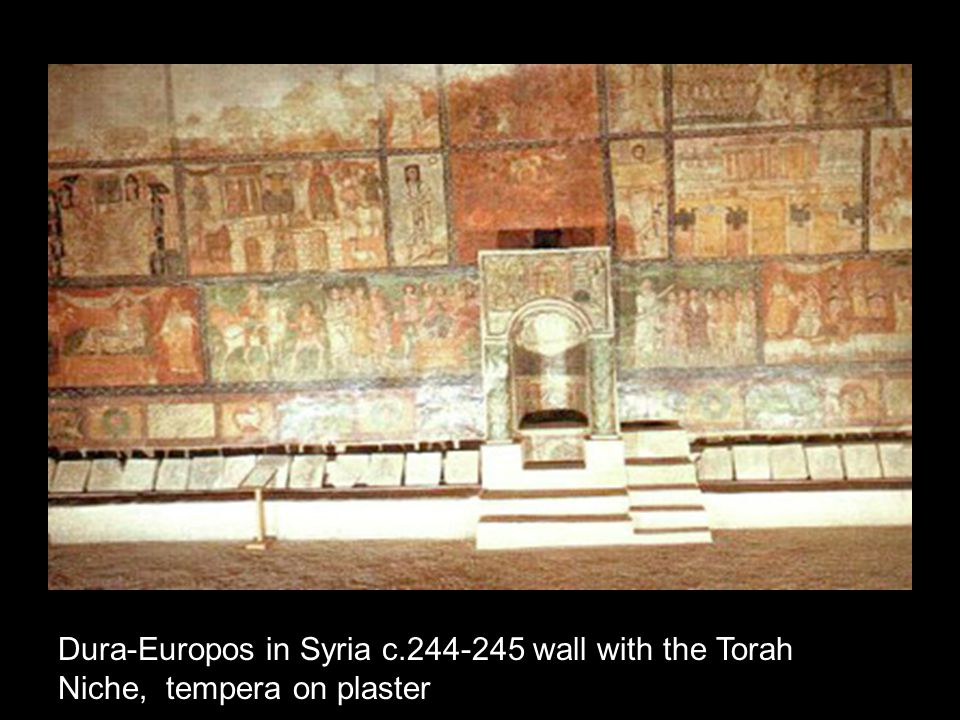 Dura-Europos in Syria c.244-245 wall with the Torah Niche, tempera on plaster