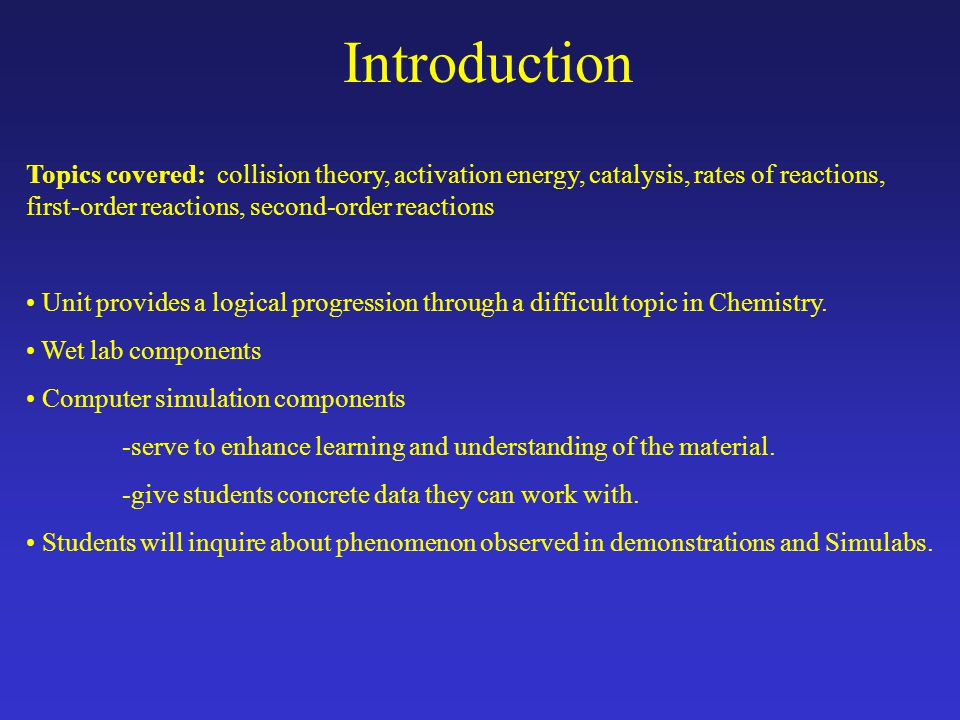 Unit Time Line Day 7 –Double Lab period Lab Activity-Rate law determination of the Crystal Violet Reaction Assignment-Full lab report write up due 1 week from date of lab Day 8 Discussion-Review Crystal Violet Lab Quiz -Rate laws Day 6 Review-Day 5 classwork Discussion -2 nd order reactions Demonstration-2 nd order Simulab Click here for outline text file