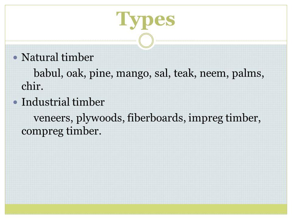 Types Natural timber babul, oak, pine, mango, sal, teak, neem, palms, chir.
