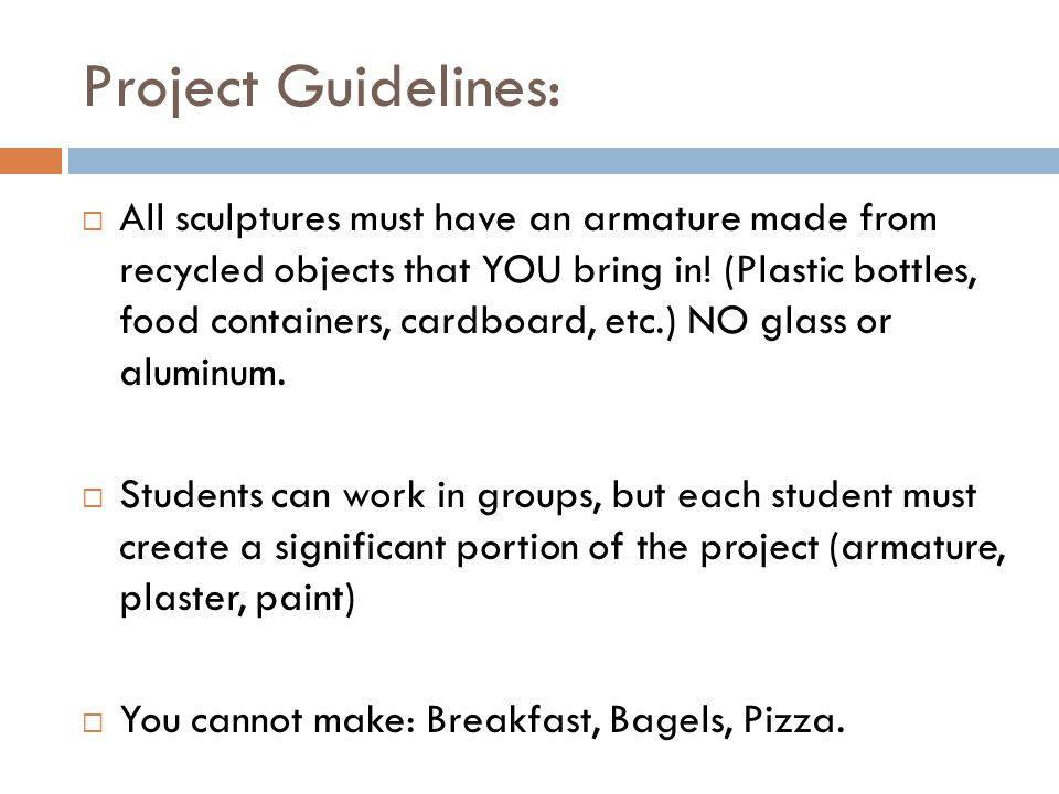 Project Guidelines:  All sculptures must have an armature made from recycled objects that YOU bring in.