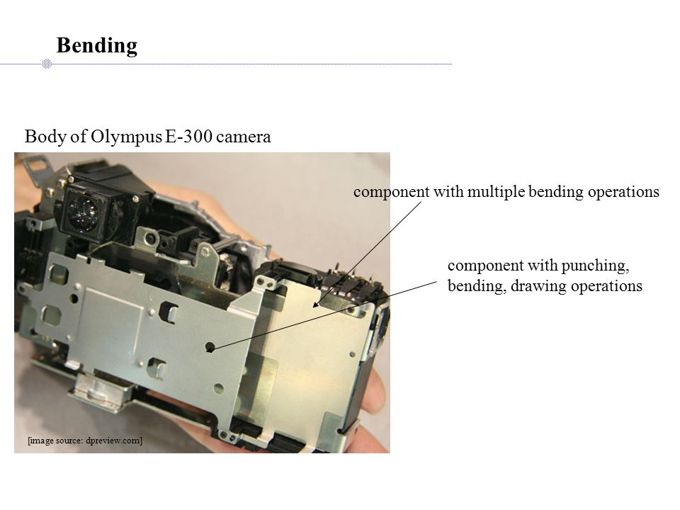 Bending Body of Olympus E-300 camera component with multiple bending operations [image source: dpreview.com] component with punching, bending, drawing operations