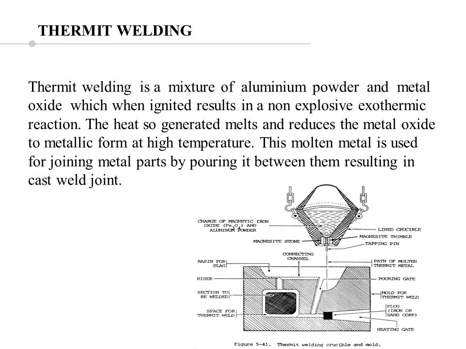Thermit welding is a mixture of aluminium powder and metal oxide which when ignited results in a non explosive exothermic reaction.