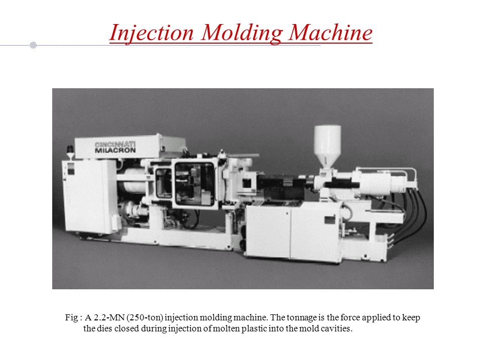Injection Molding Machine Fig : A 2.2-MN (250-ton) injection molding machine.
