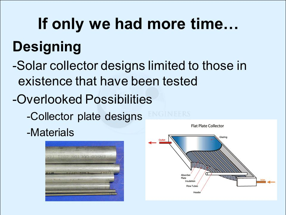 If only we had more time… Designing -Solar collector designs limited to those in existence that have been tested -Overlooked Possibilities -Collector plate designs -Materials