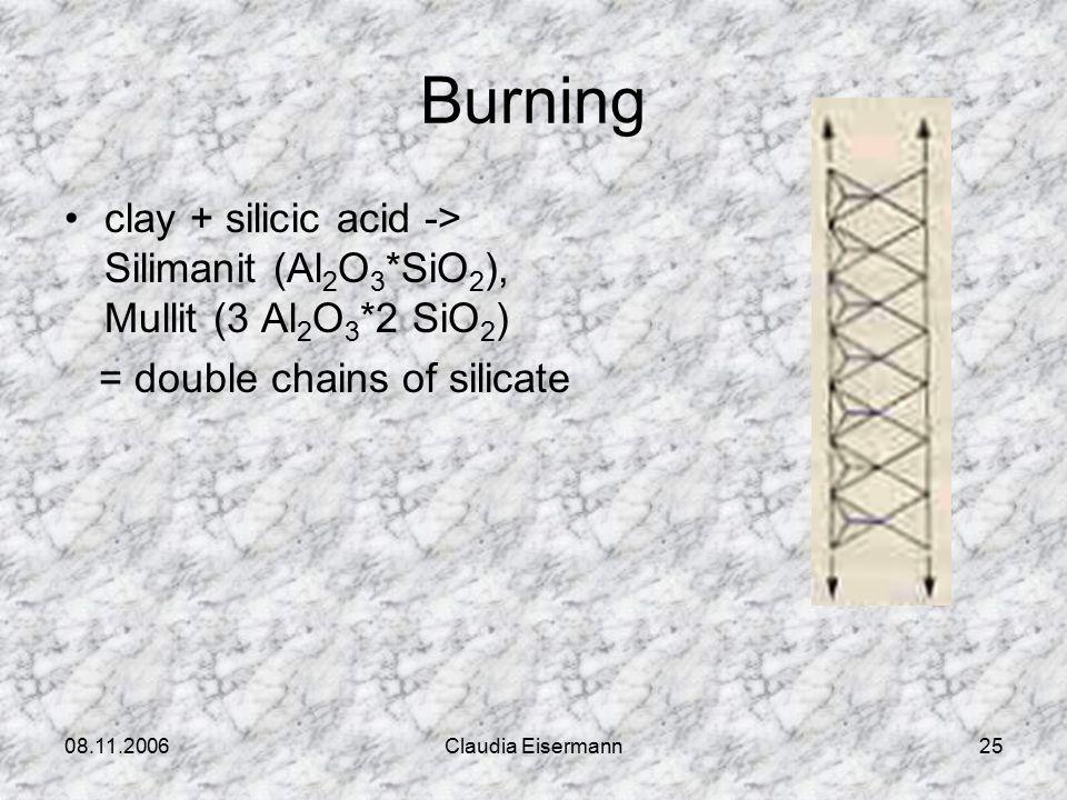 08.11.2006Claudia Eisermann25 Burning clay + silicic acid -> Silimanit (Al 2 O 3 *SiO 2 ), Mullit (3 Al 2 O 3 *2 SiO 2 ) = double chains of silicate