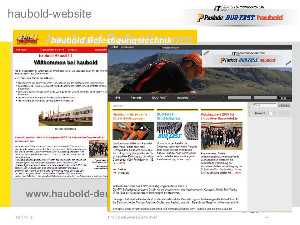 Marc Willer ITW Befestigungssysteme GmbH 21 www.haubold-deutschland.com haubold-website