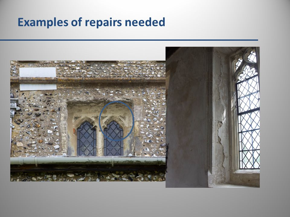 Examples of repairs needed