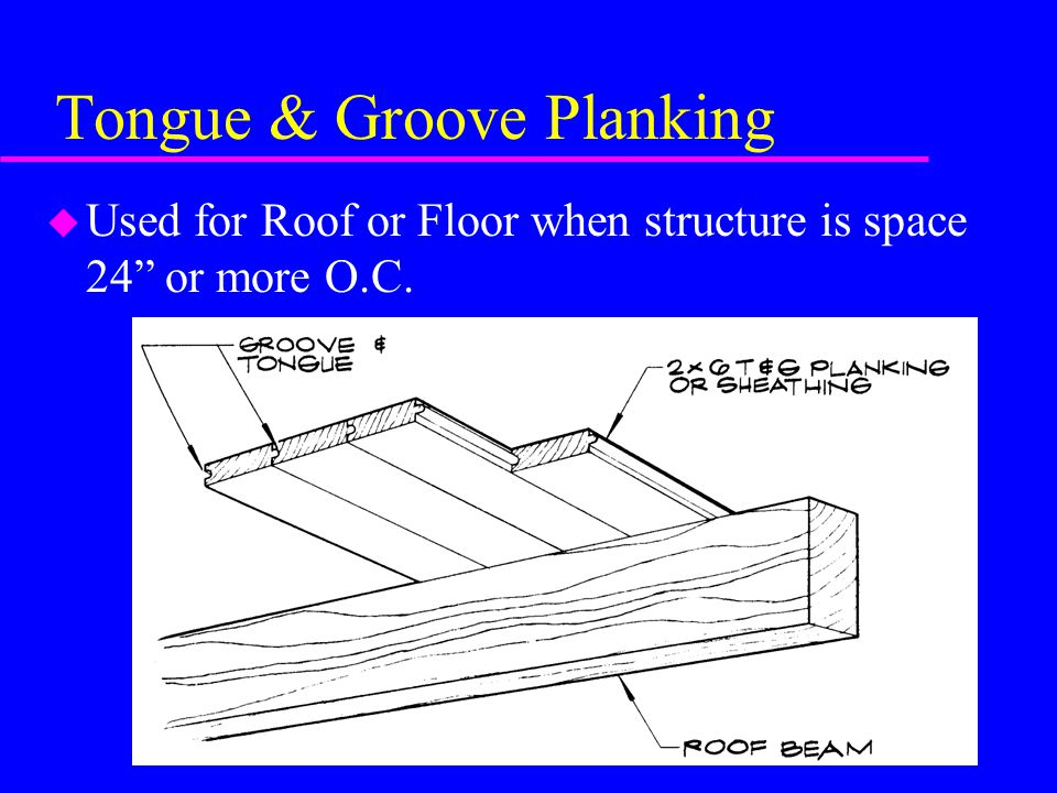 Tongue & Groove Planking u Used for Roof or Floor when structure is space 24 or more O.C.