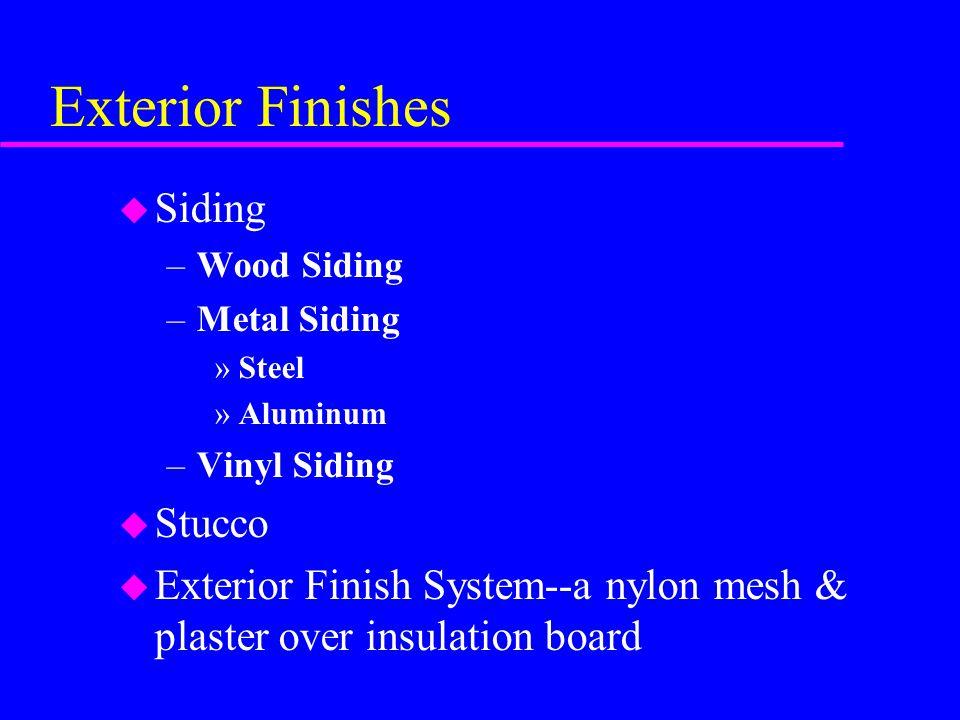 Exterior Finishes u Siding –Wood Siding –Metal Siding »Steel »Aluminum –Vinyl Siding u Stucco u Exterior Finish System--a nylon mesh & plaster over insulation board