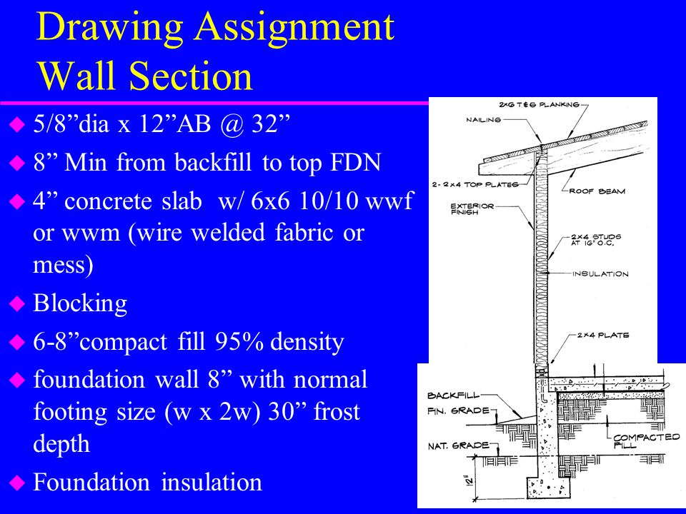 Drawing Assignment Wall Section u 5/8 dia x 12 AB @ 32 u 8 Min from backfill to top FDN u 4 concrete slab w/ 6x6 10/10 wwf or wwm (wire welded fabric or mess) u Blocking u 6-8 compact fill 95% density u foundation wall 8 with normal footing size (w x 2w) 30 frost depth u Foundation insulation