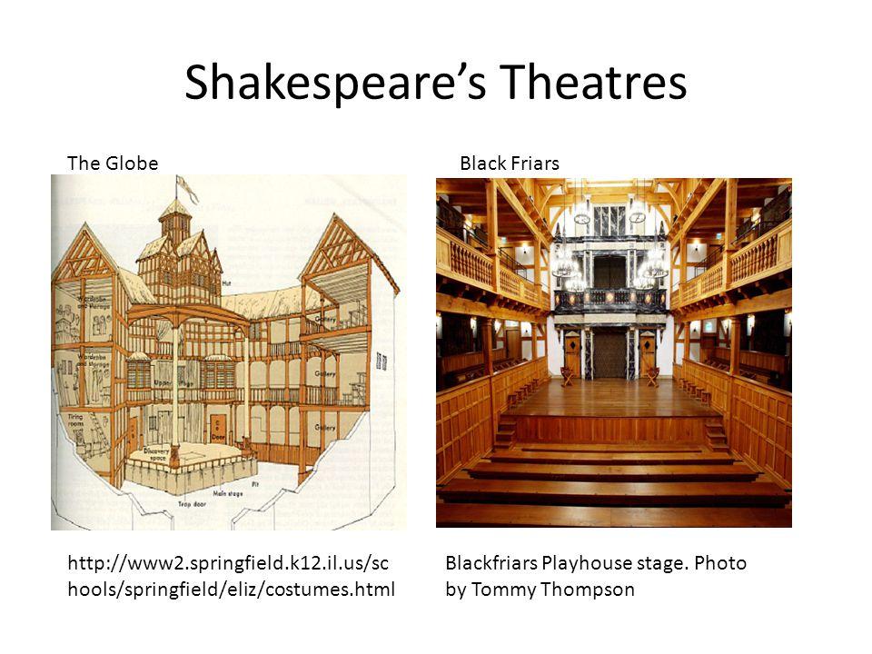 Shakespeare's Theatres http://www2.springfield.k12.il.us/sc hools/springfield/eliz/costumes.html The GlobeBlack Friars Blackfriars Playhouse stage. Ph