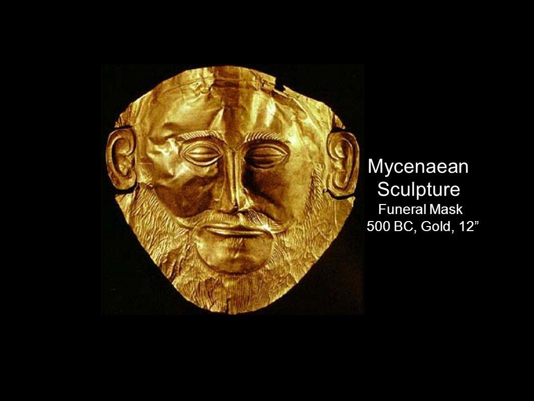 Mycenaean Sculpture Funeral Mask 1500 BC, Gold, 12