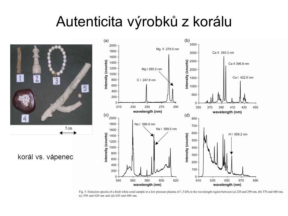 Autenticita výrobků z korálu korál vs. vápenec