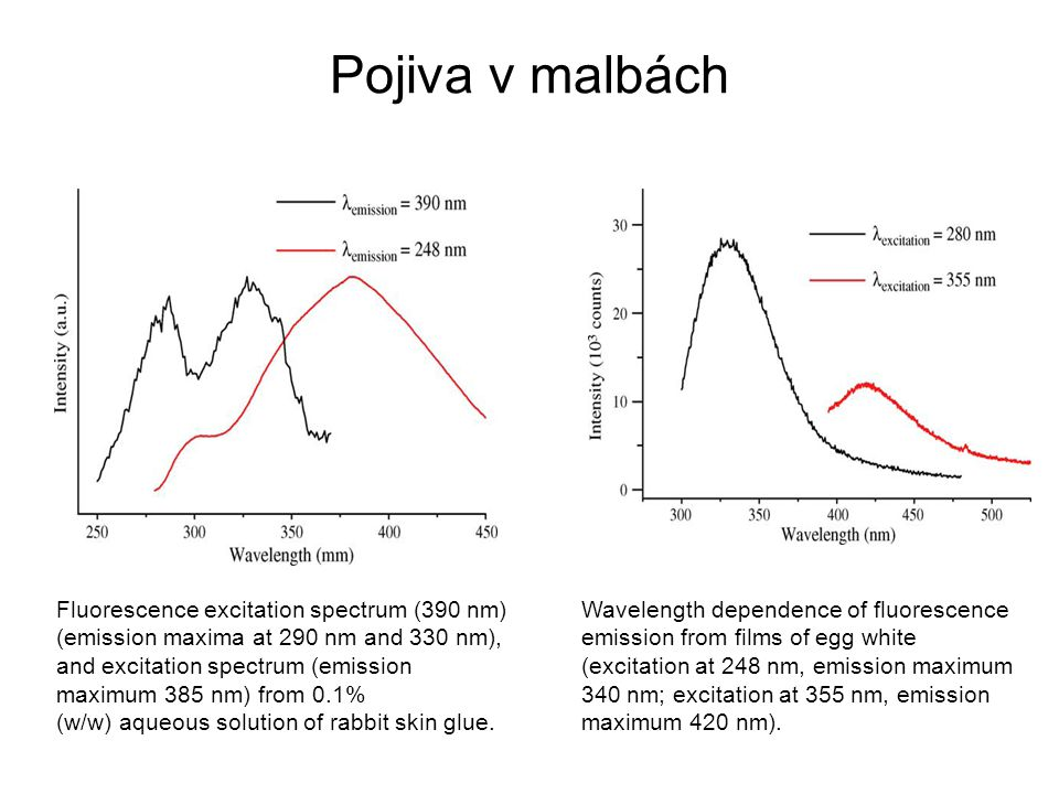 Pojiva v malbách Fluorescence excitation spectrum (390 nm) (emission maxima at 290 nm and 330 nm), and excitation spectrum (emission maximum 385 nm) from 0.1% (w/w) aqueous solution of rabbit skin glue.