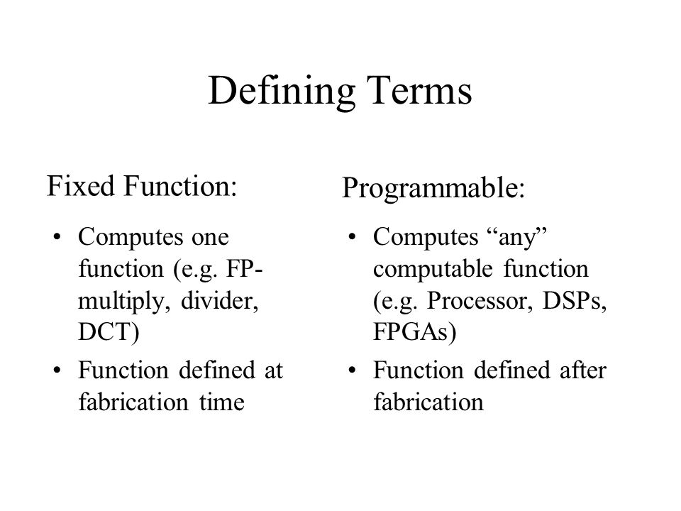 "Defining Terms Computes one function (e.g. FP- multiply, divider, DCT) Function defined at fabrication time Computes ""any"" computable function (e.g. P"