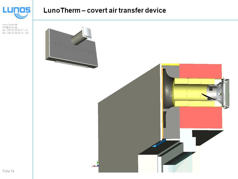www.lunos.de info@lunos.de tel.: +49 30 36 20 01 – 0 fax: +49 30 36 20 01 - 89 Folie 14 LunoTherm – covert air transfer device