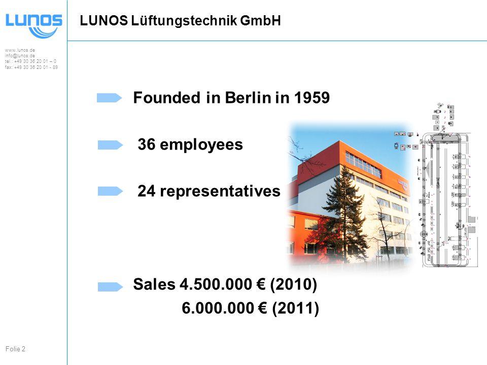www.lunos.de info@lunos.de tel.: +49 30 36 20 01 – 0 fax: +49 30 36 20 01 - 89 Folie 2 LUNOS Lüftungstechnik GmbH Founded in Berlin in 1959 36 employees 24 representatives Sales 4.500.000 € (2010) 6.000.000 € (2011)