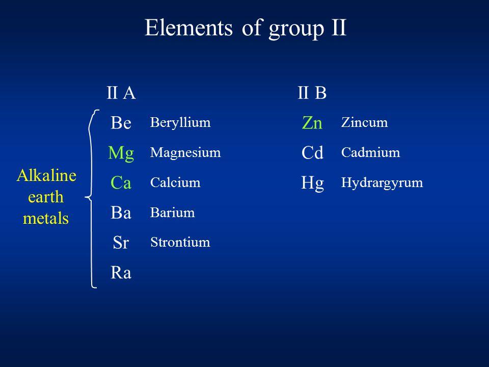 Elements of group II II AII B Be Beryllium Zn Zincum Mg Magnesium Cd Cadmium Ca Calcium Hg Hydrargyrum Ba Barium Sr Strontium Ra Alkaline earth metals