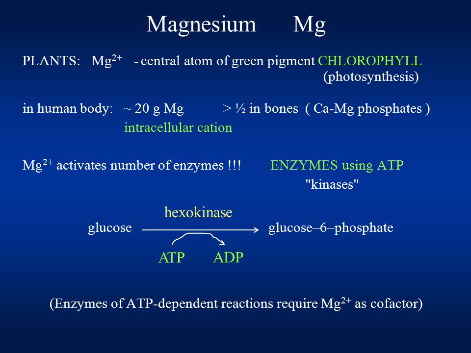Magnesium Mg PLANTS: Mg 2+ - central atom of green pigment CHLOROPHYLL (photosynthesis) in human body: ~ 20 g Mg > ½ in bones ( Ca-Mg phosphates ) int