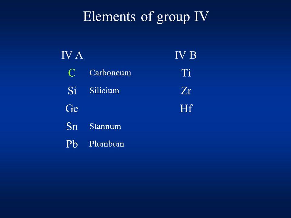 Elements of group IV IV AIV B C Carboneum Ti Si Silicium Zr GeHf Sn Stannum Pb Plumbum