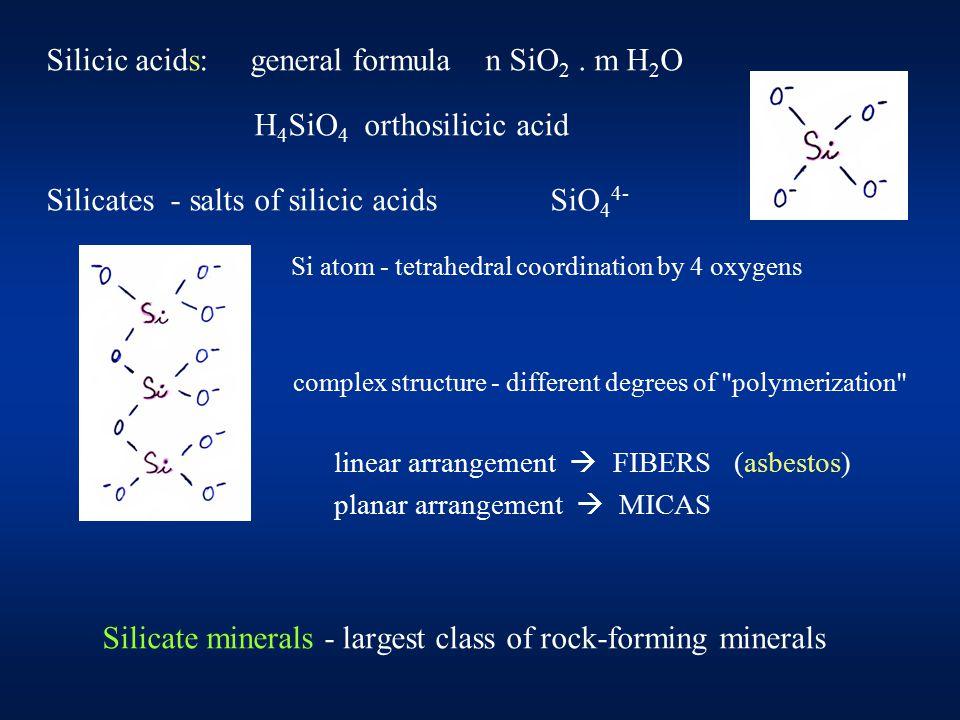 Silicic acids: general formula n SiO 2.