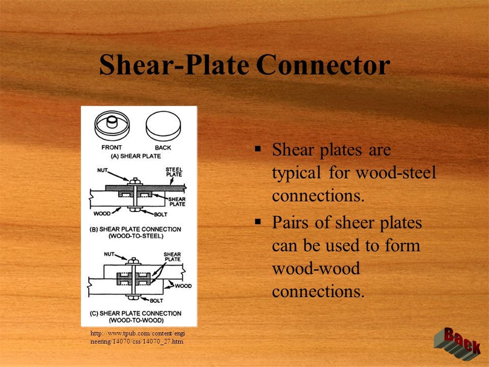 Shear-Plate Connector  Shear plates are typical for wood-steel connections.  Pairs of sheer plates can be used to form wood-wood connections.  Shea
