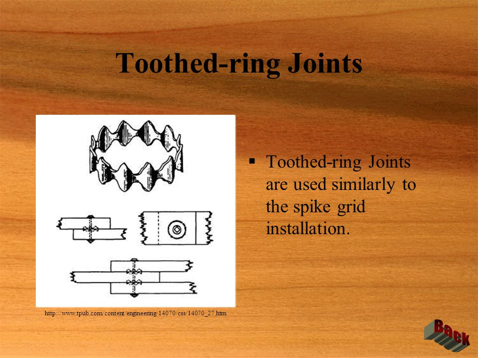 Toothed-ring Joints  Toothed-ring Joints are used similarly to the spike grid installation. http://www.tpub.com/content/engineering/14070/css/14070_2