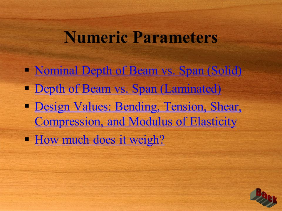 Numeric Parameters  Nominal Depth of Beam vs. Span (Solid) Nominal Depth of Beam vs. Span (Solid)  Depth of Beam vs. Span (Laminated) Depth of Beam