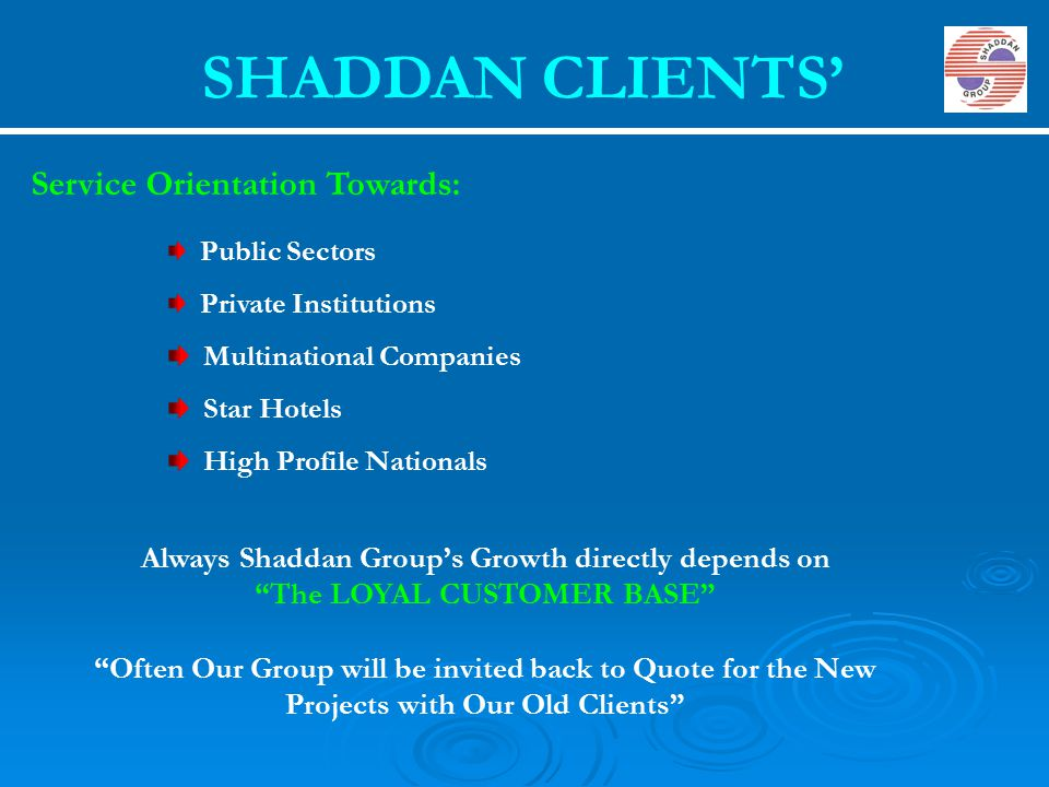 SHADDAN CLIENTS' Service Orientation Towards: Public Sectors Private Institutions Multinational Companies Star Hotels High Profile Nationals Always Sh
