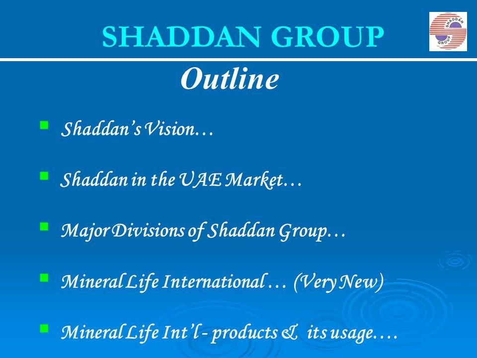  Shaddan's Vision…  Shaddan in the UAE Market…  Major Divisions of Shaddan Group…  Mineral Life International … (Very New)  Mineral Life Int'l -