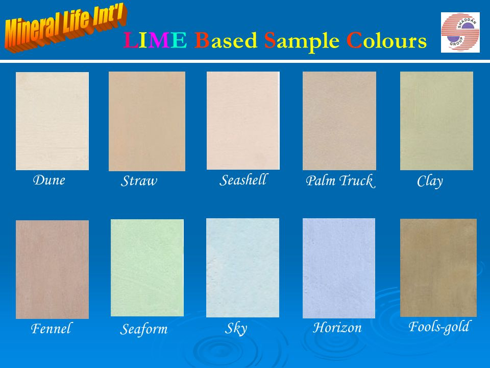Straw Dune Fennel Clay Fools-gold Palm Truck Seaform Seashell Sky LIME Based Sample Colours Horizon