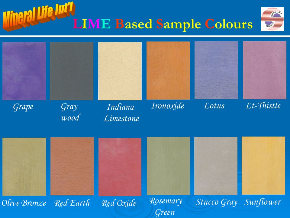 Indiana Limestone Lotus Ironoxide Lt-Thistle Rosemary Green Red EarthOlive Bronze Stucco Gray Gray wood Grape Sunflower Red Oxide LIME Based Sample Co