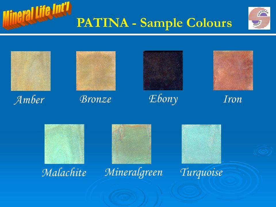 PATINA - Sample Colours BronzeIron Ebony Amber Malachite Mineralgreen Turquoise