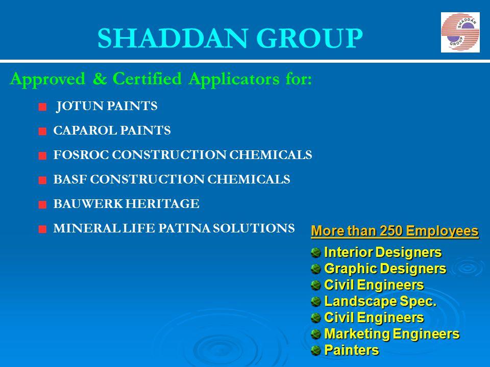 SHADDAN GROUP JOTUN PAINTS CAPAROL PAINTS FOSROC CONSTRUCTION CHEMICALS BASF CONSTRUCTION CHEMICALS BAUWERK HERITAGE MINERAL LIFE PATINA SOLUTIONS App