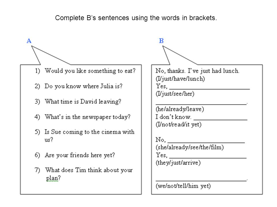 Read the situations and write sentences with JUST/ALREADY/YET.