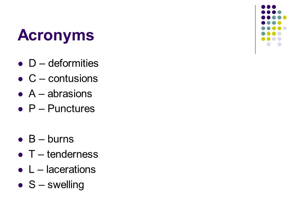 Signs and Symptoms Pain/tenderness Deformity/angulation Crepitus (grating) Rice krispies Swelling Bruising Open fracture Joint locking Neurovascular compromise