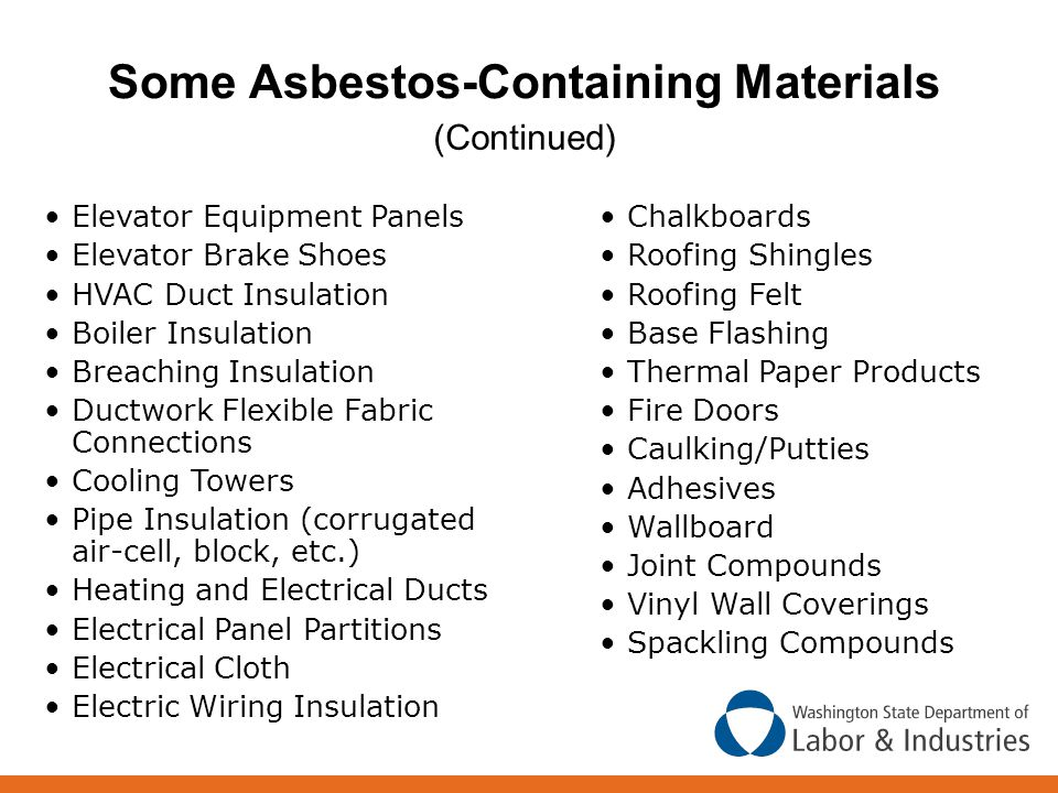 Some Asbestos-Containing Materials (Continued) Chalkboards Roofing Shingles Roofing Felt Base Flashing Thermal Paper Products Fire Doors Caulking/Putties Adhesives Wallboard Joint Compounds Vinyl Wall Coverings Spackling Compounds Elevator Equipment Panels Elevator Brake Shoes HVAC Duct Insulation Boiler Insulation Breaching Insulation Ductwork Flexible Fabric Connections Cooling Towers Pipe Insulation (corrugated air-cell, block, etc.) Heating and Electrical Ducts Electrical Panel Partitions Electrical Cloth Electric Wiring Insulation